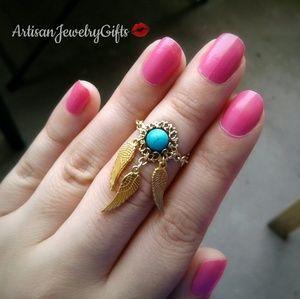 16K Gold Dreamcatcher Natural Gemstone Chain Ring